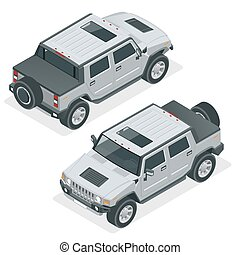 Isometric Pickup Truck Highly detailed Off-road write car....