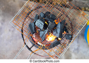Homemade improvised BBQ barbecue grill, top view