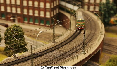 Toy train railroad town focus