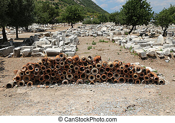 Ancient Sewerage Pipes in Ephesus Ancient City - Ancient...