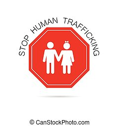 stop human trafficking sign illustration in colorful