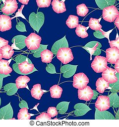 Pink Morning Glory on Blue Indigo Background. Vector Illustration