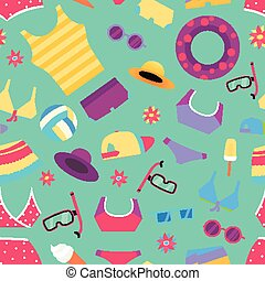 Seamless summer pattern with beach objects and accessories