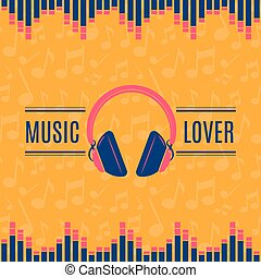 Vector music lover headphones illustration on musical notes background