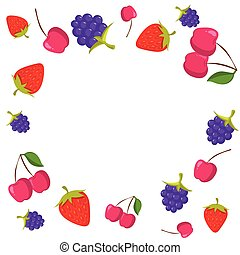 Berries frame on white background with place for text