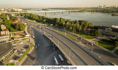 Aerial view of highway interchange Russia - Road river...
