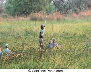 Mokoro dugout canoe pushed by pole - Okavango Delta...