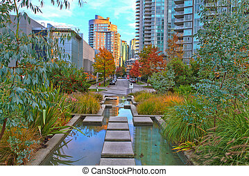 View of Vancouver, BC - Walk near the Harbor in downtown of...