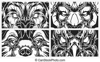 Eyes dangerous animals, tattoo style vector background