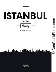 Poster city skyline Istanbul, Flat style vector illustration