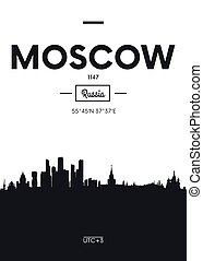 Poster city skyline Moscow, Flat style vector illustration