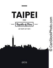 Poster city skyline Taipei, Flat style vector illustration