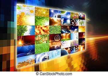 Wide media screen with collection of pictures. All used...
