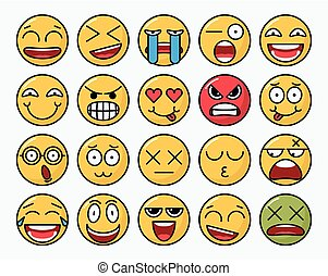 Color set of vector smile of different emotions