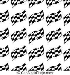 Checkered racing flag, black and white seamless pattern, vector background