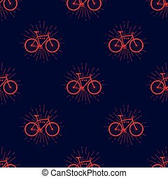 Colorful seamless pattern with fix bike, hipster style,...