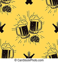 Seamless pattern with clinking glasses of beer, vector...
