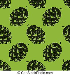 Seamless pattern with green beer hops, colorful vector...