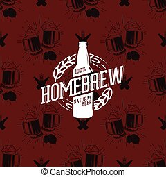 Homebrew logo on seamless pattern clinking glasses of beer,...