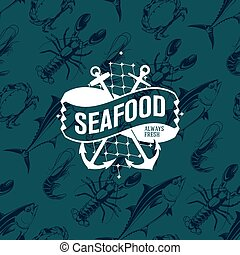 Seafood logo on seamless pattern with tuna, shrimp, crab and...