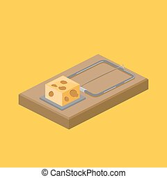 Mousetrap and cheese isometric vector illustration -...