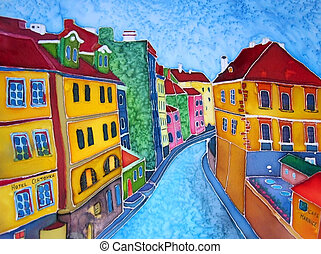 Original painting on silk Batik Prague Europe