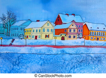 Minsk, Belarus. Original painting. - Original painting on...