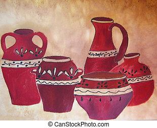 Pottery. Original painting. - Original painting on silk....