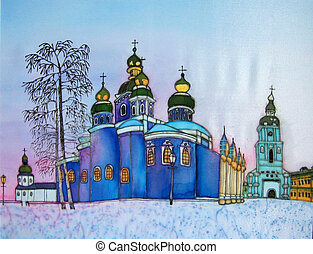 Church in Kiev, original painting. - Original painting on...