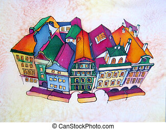 Prague. Original painting. - Original painting on silk of...