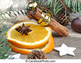 oange and spices for holidays - orange and spices in holiday...