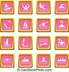 Water sport icons pink - Water sport icons set in pink color...