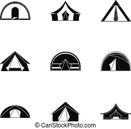 Tourist tent form icon set, simple style