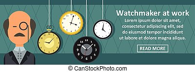 Watchmaker at work banner horizontal concept. Flat...