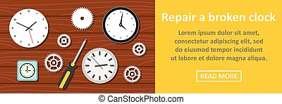 Repair a broken clock banner horizontal concept. Flat...