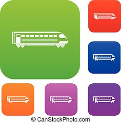 Train set collection - Train set icon in different colors...