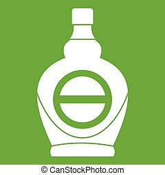 Maple syrup in glass bottle icon green - Maple syrup in...