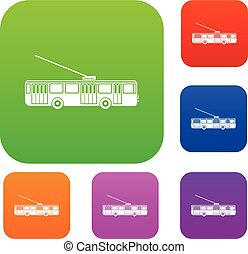 Trolleybus set collection - Trolleybus set icon in different...