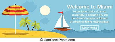 Welcome to miami banner horizontal concept. Flat...