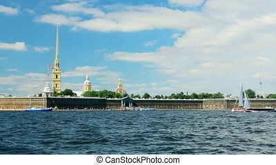Russia St. Petersburg Neva River fortress panorama water