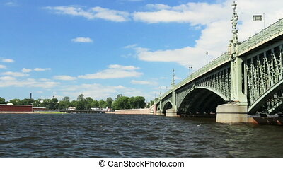 Russia St. Petersburg summer River Neva under the bridge -...