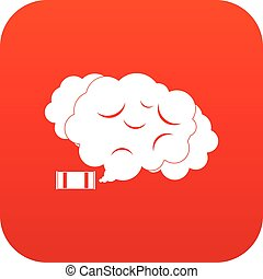 Tear gas icon digital red for any design isolated on white...