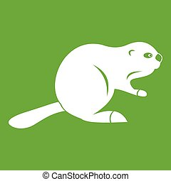 Canadian beaver icon green - Canadian beaver icon white...