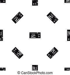 Airline boarding pass pattern seamless black