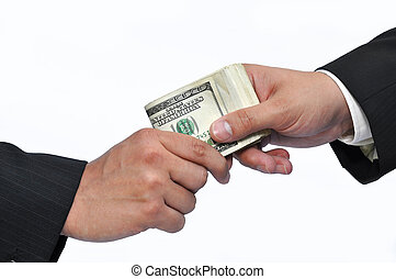 Paying money - Two businessmen and paying money, horizontal...