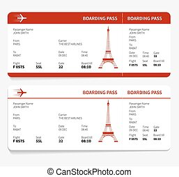 red boarding pass - Red boarding pass with Eiffel tower....