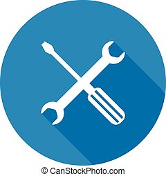 Wrench and screwdriver icon. - Wrench and screwdriver vector...