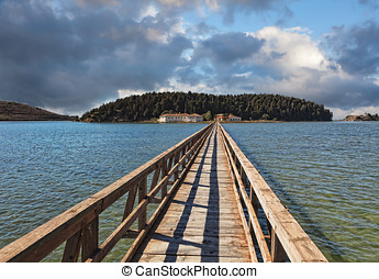 Bridge to the Zvernec Monastery, Vlora, Albania - Zvernec...