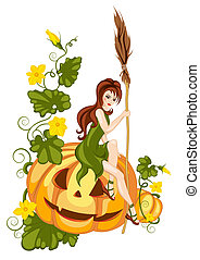 halloween pumpkin - a girl sitting on a halloween pumpkin...