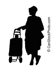 Woman silhouette standing with luggage